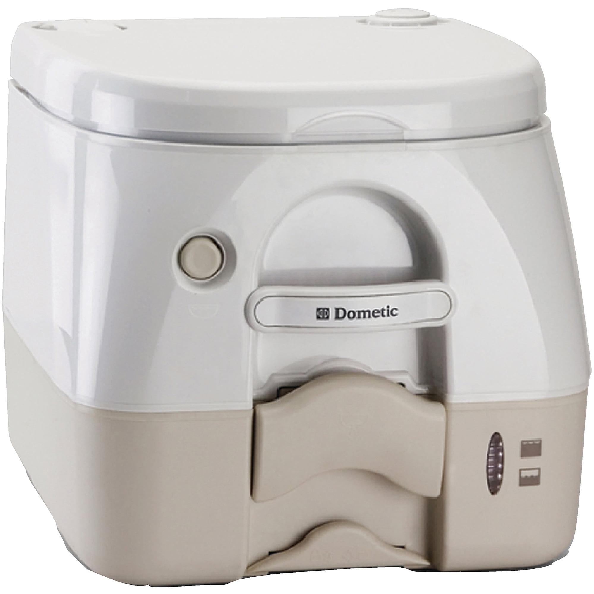 SeaLand 2.5 Gallon Full Size SaniPottie 974MSD Portable Toilet with Push Button Flush, Tan by Dometic Corporation