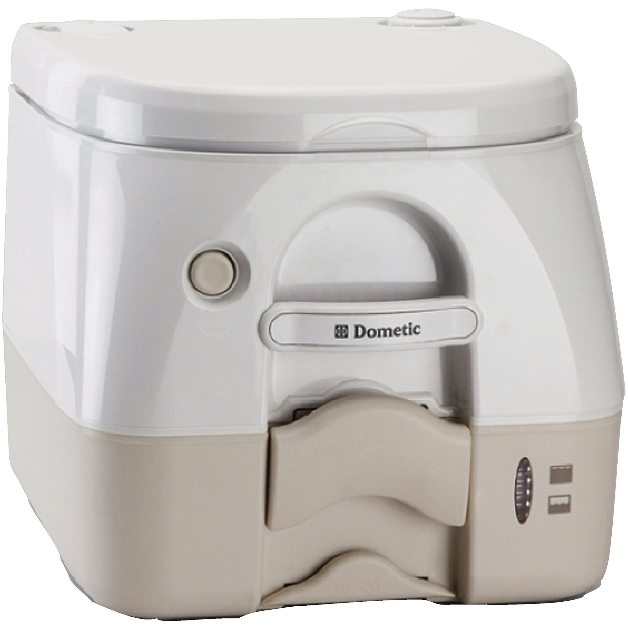 SeaLand 2.5 Gallon Full Size SaniPottie 974MSD Portable Toilet with Push Button Flush, Tan