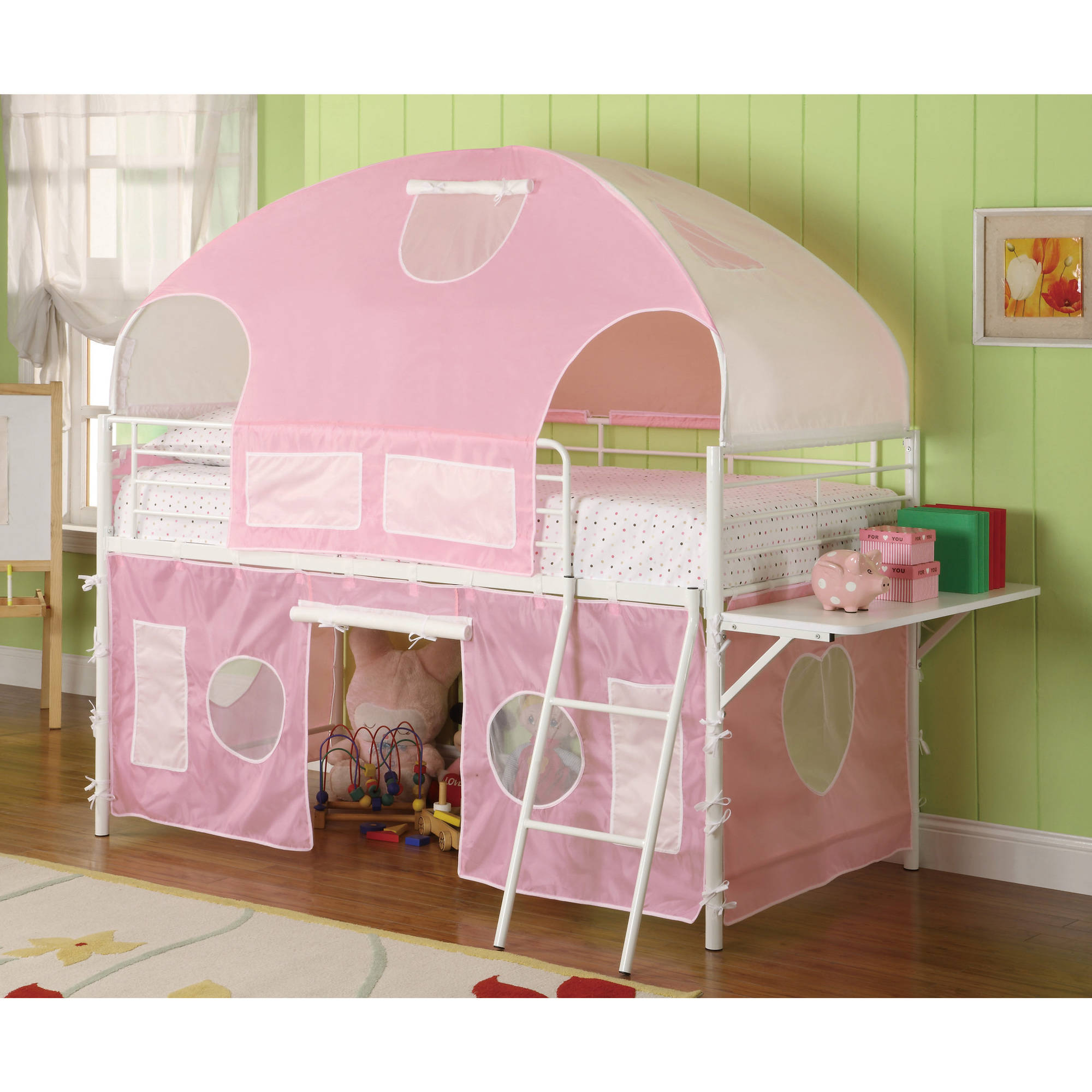 Coaster Company Sweetheart Tent Bed, Glossy White Frame