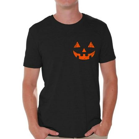 Awkward Styles Halloween Jack O'Lantern Pumpkin Shirt for Men Pumpkin Face T-Shirt Silly Halloween Tee for Men Spooky and Easy Halloween Costume Shirt for Guys