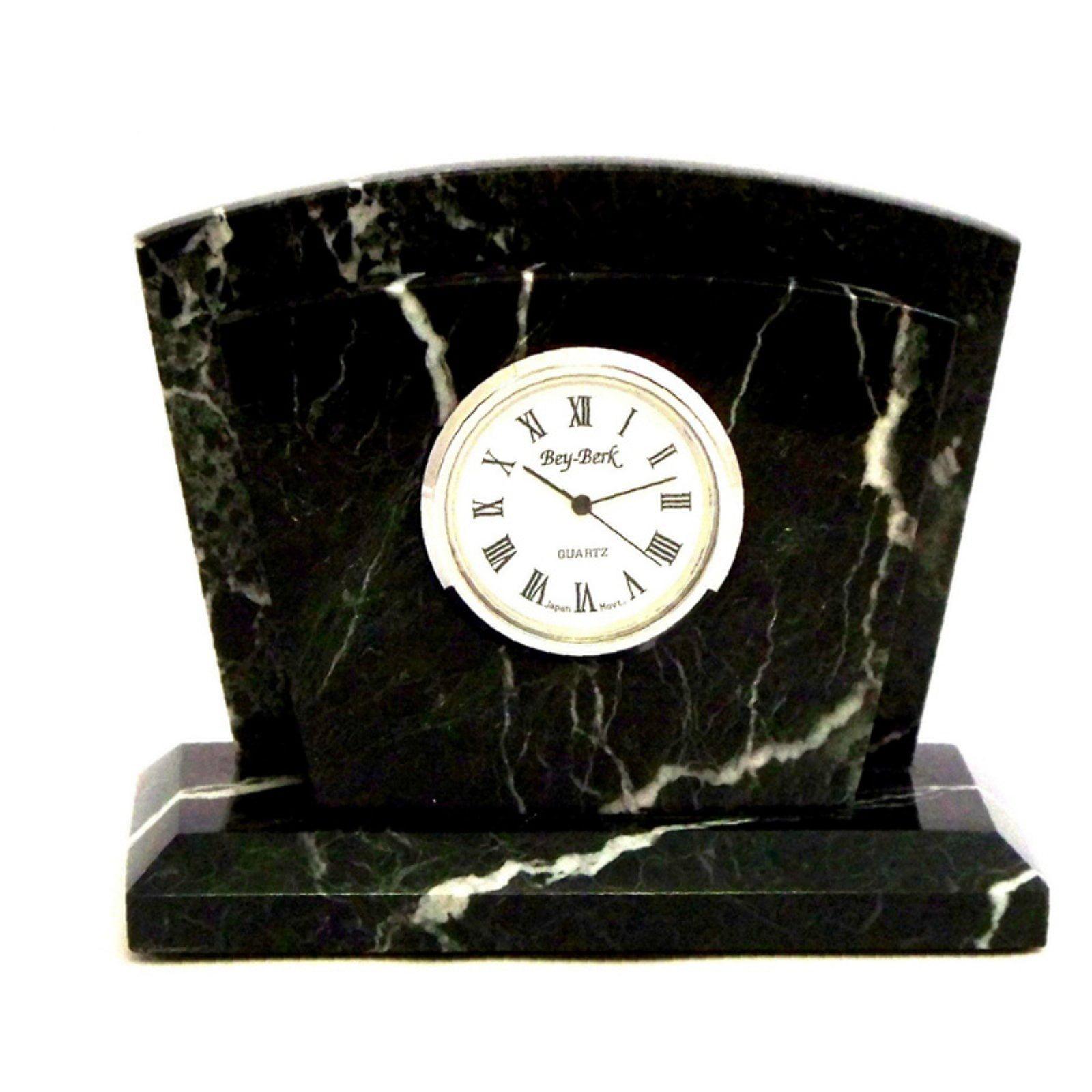 Bey-Berk D037 Black Zebra Marble Letter Rack with Clock by Bey Berk