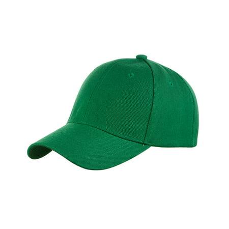 NYFASHION101 Unisex Plain Adjustable Hook and Loop Baseball Cap VEL100, Kelly - Plain Baseball Caps
