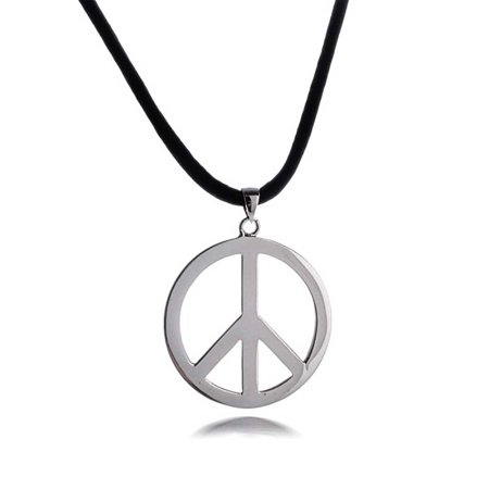 Large Peace Sign Pendant Necklace For Men For Women Teen Black Leather Cord Polished 925 Sterling Silver 18In