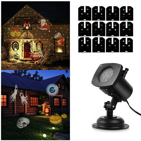 Christmas Projector Light, Waterproof LED Projection Spotlight 12 Switchable Patterns for Christmas Party Birthday Holiday Landscape Indoor and Outdoor Decoration