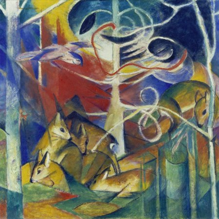Deer in the Forest I, 1913 Expressionist Abstract Animal Painting Print Wall Art By Franz Marc
