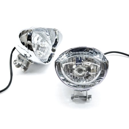 Krator Custom Chrome Passing Fog Auxiliary Light For Yamaha TX SR CS YX RD 350 400 500 600 650 750 Cs Custom Fit Cover