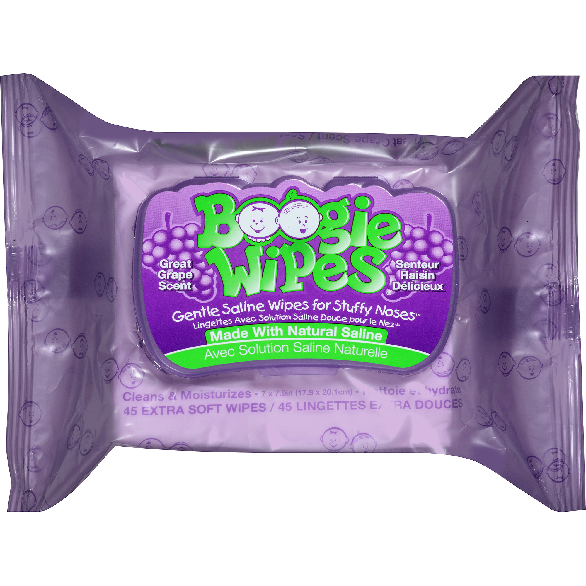 Boogie Wipes Grape Scent Saline Wipes, 45 sheets