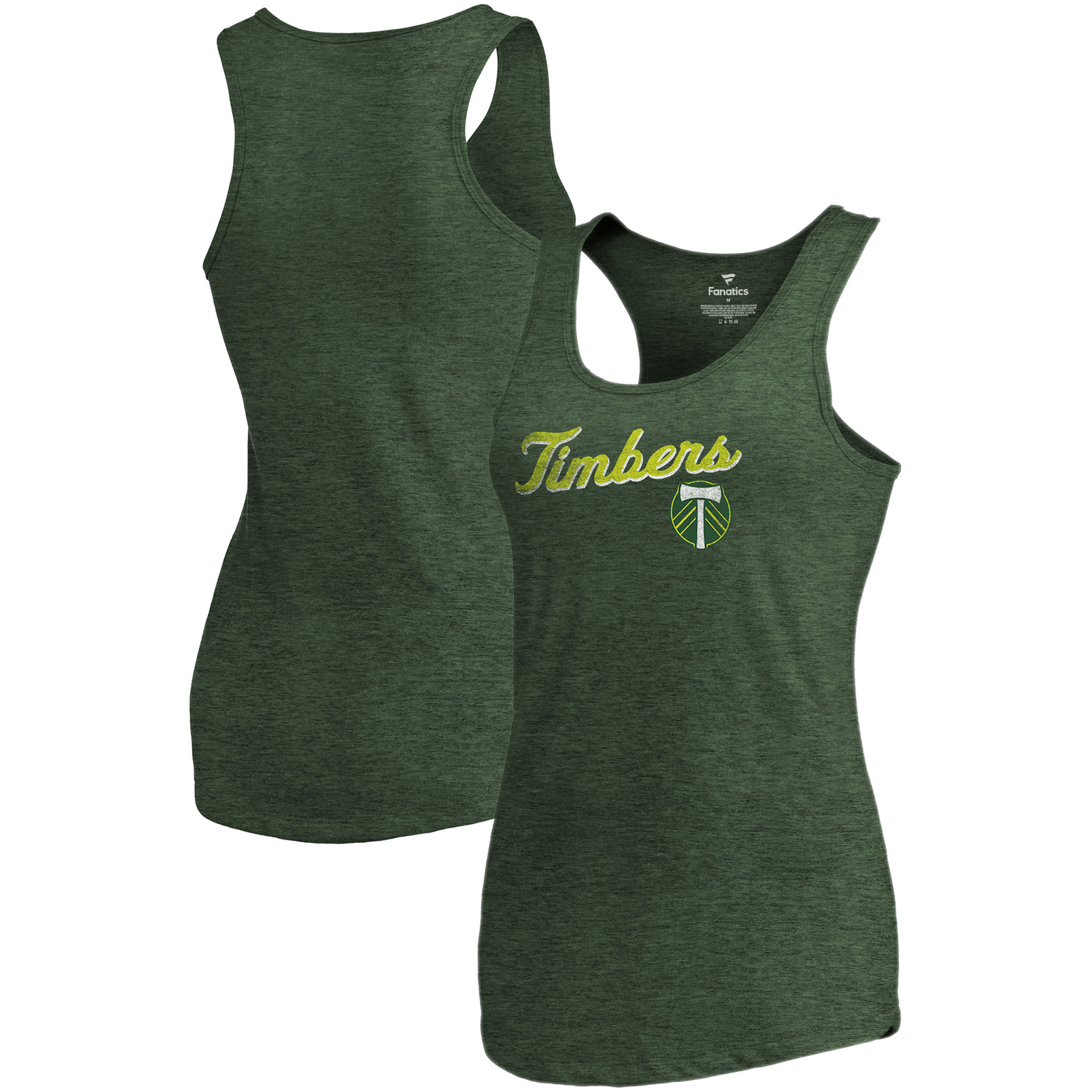 Portland Timbers Fanatics Branded Women's Rising Script Tri-Blend Tank Top - Heathered Green