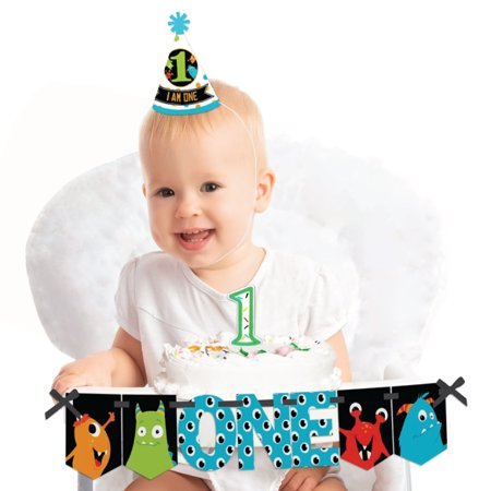 Monster Bash - 1st Birthday Boy or Girl Smash Cake Decorating Kit - Little Monster High Chair Decorations