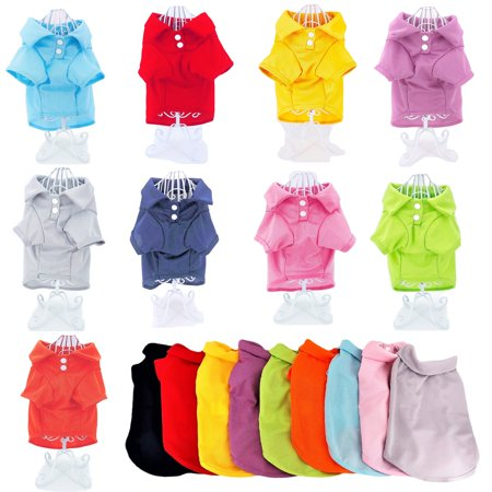 Cute Dog Polo Shirt T-Shirt Puppy Cat Clothes Apparel For SMALL Pet sz XXS: Length - 8
