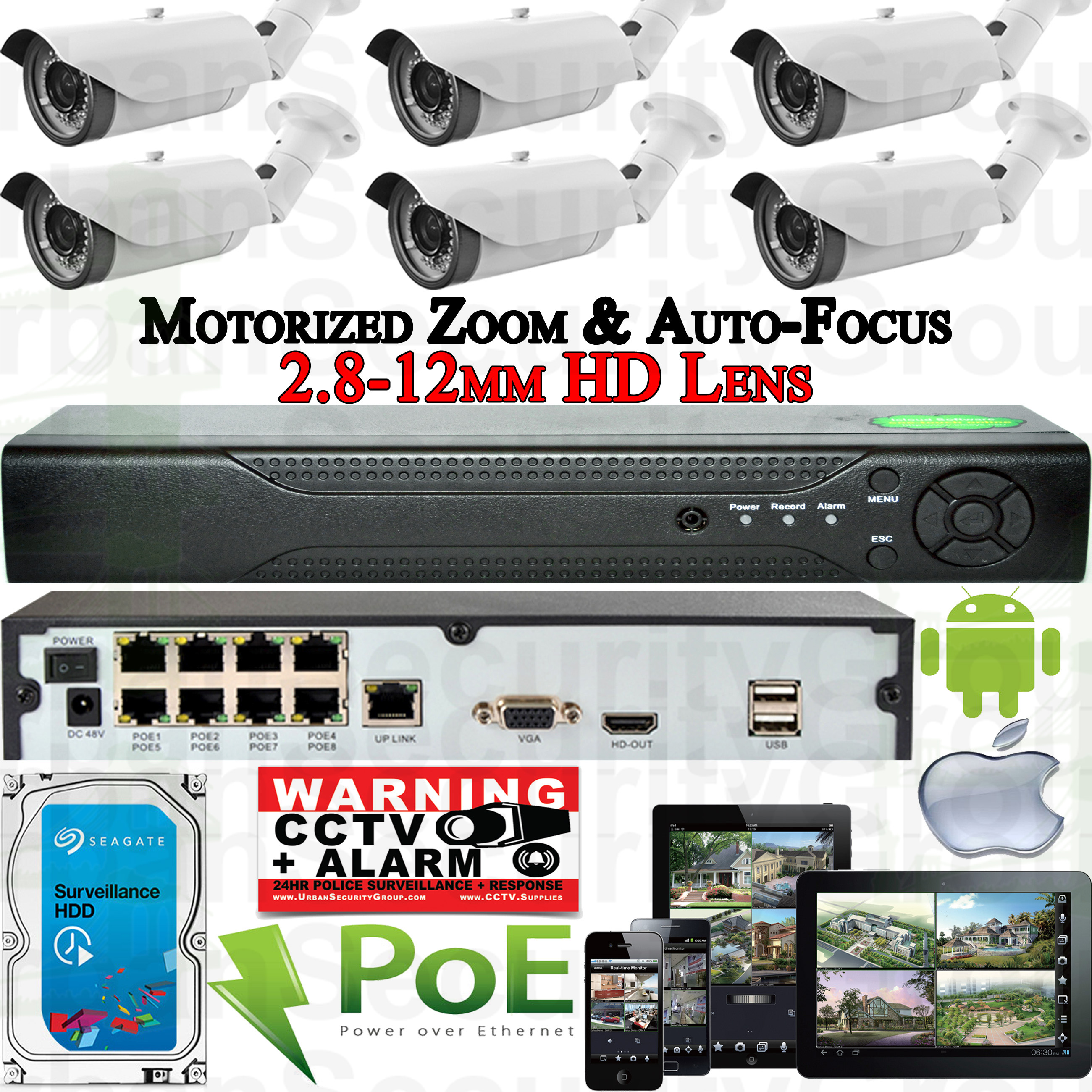 USG Sony Chip 6 Camera Motorized Lens Remote Zoom & Auto-Focus IP PoE Security System CCTV Kit * 6x 1080p 2mp 2.8-12mm Bullet Cameras + 1x 8 Channel 1080P PoE NVR + 1x 4TB HDD * FREE PHONE APP