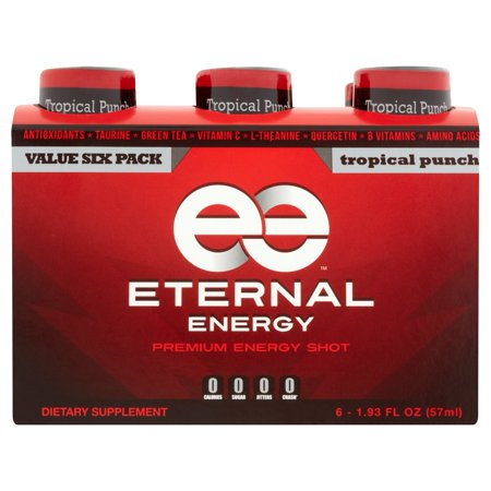 Eternal Energy Tropical Punch Premium Energy Shot 6 X 1 93 Fl Oz
