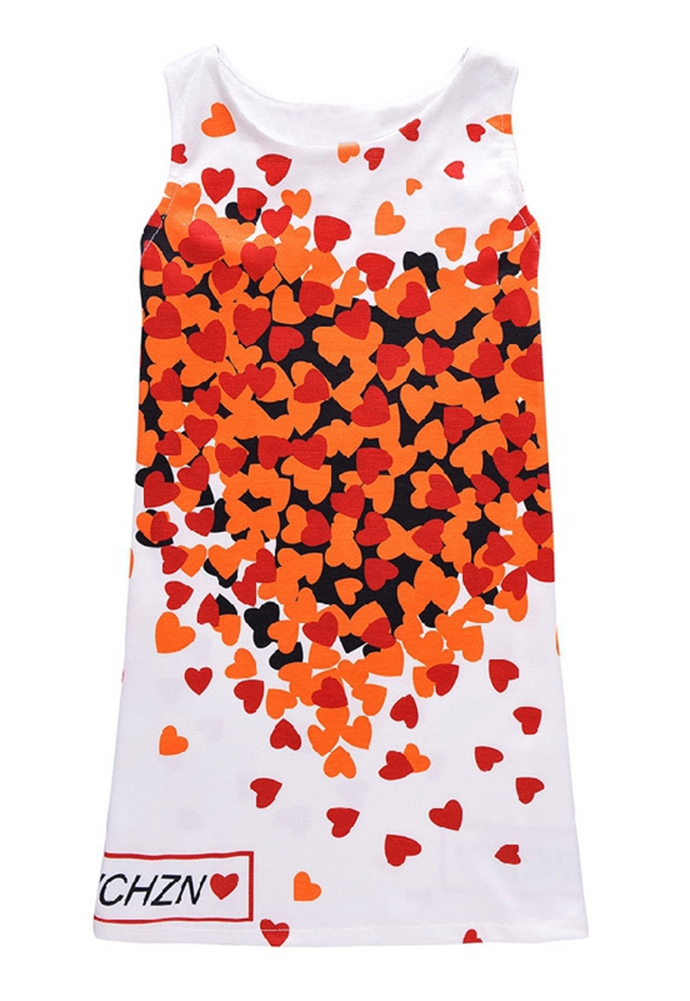 StylesILove Sweet Heart Print Sleeveless Girl Dress (130/4-5 Years)