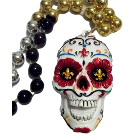 White Sugar Skull Day of the Dead Mardi Gras Beads Party Favor Necklace (Cheap Mardi Gras Beads In Bulk)