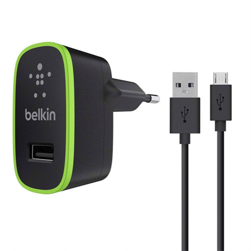 Belkin Mobile Universal Micro AC Charger 2.1A with 4' microUSB Cable, Black