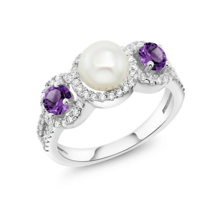1.30 Ct Round Cultured Freshwater Pearl Purple Amethyst 925 Sterling Silver Ring