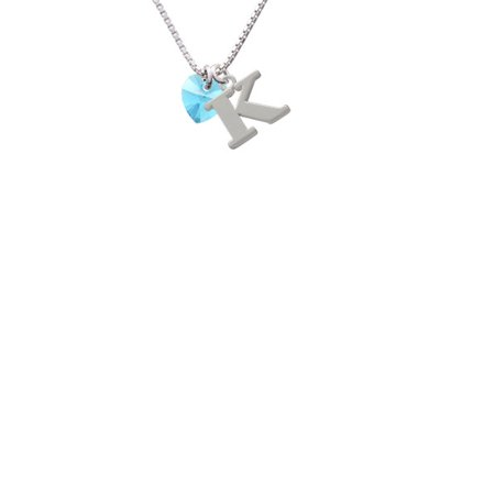 Hot Blue Crystal Heart Capital Initial K Necklace
