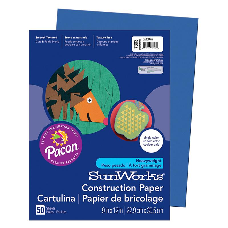 "Sunworks Groundwood Construction Paper - 12"" X 9"" - Dark Blue (7303_40)"