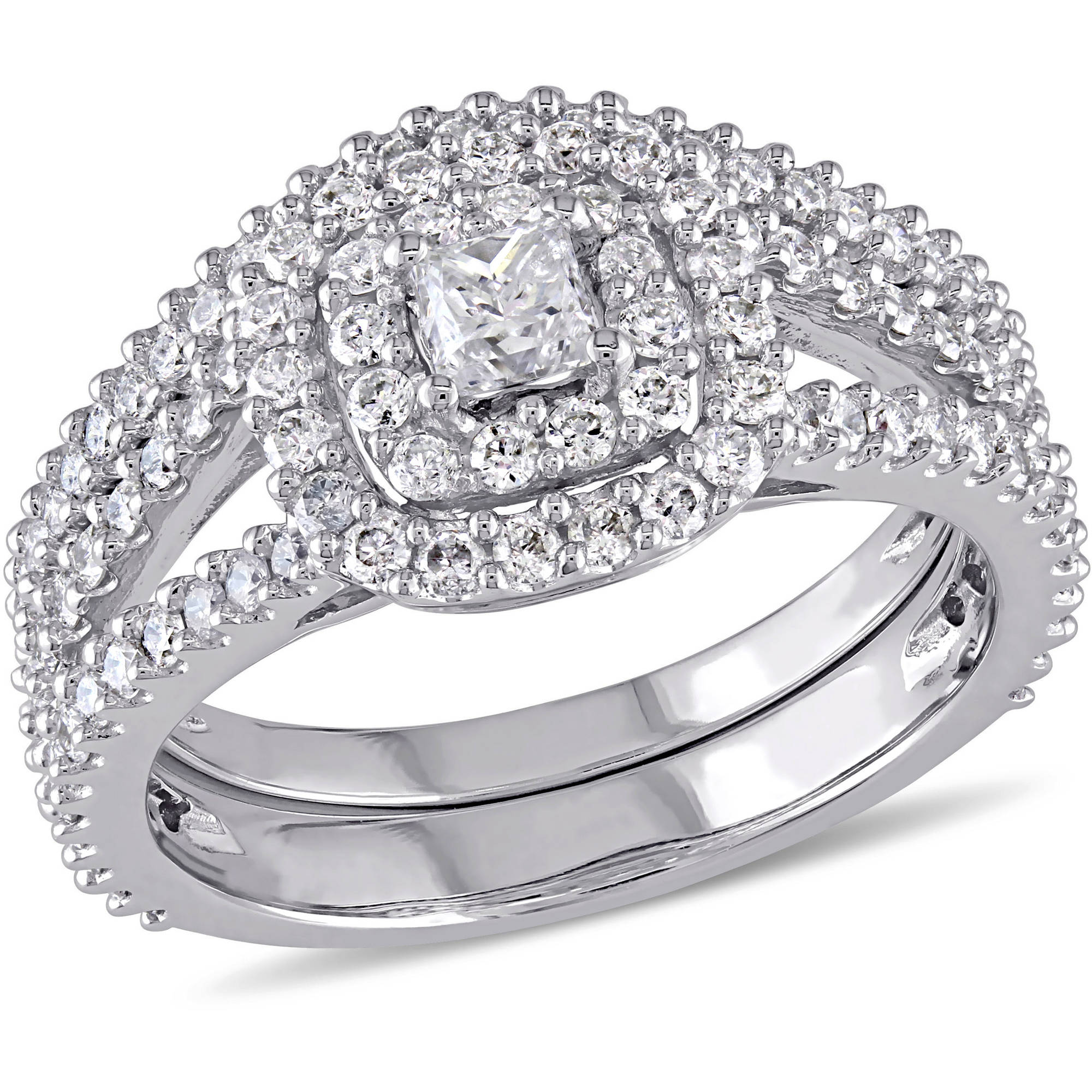 Miabella 1-1/5 Carat T.W. Princess and Round-Cut Diamond 14kt White Gold Double Halo Bridal Set