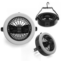 2 In 1 Camping Lantern with Ceiling Fan, Portable Tent Light with 12 Bright LED Lights by Wakeman Outdoors