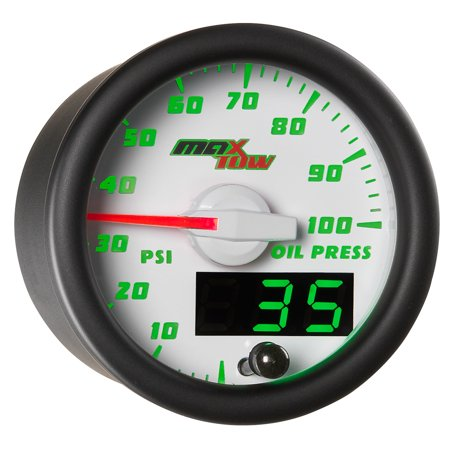 MaxTow White and Green Oil Pressure - Electric Oil Pressure Gauge