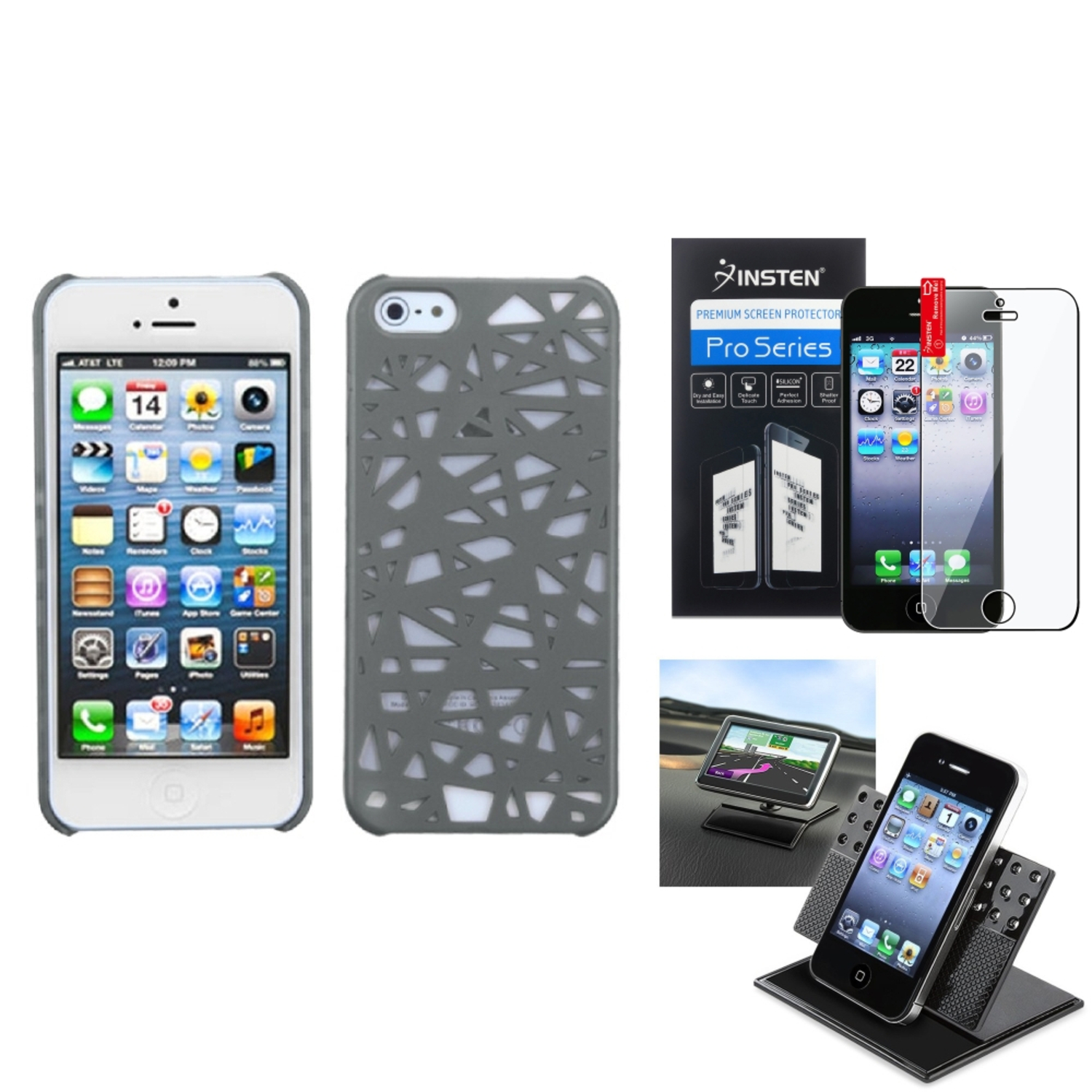 Insten Film+Holder+Gray Bird Nest Mesh Hard Case Cover For Apple iPhone 5 5S