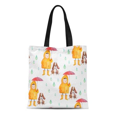 Girl Cartoon Character (KDAGR Canvas Tote Bag Watercolor Cute Cartoon Characters Small Girl and Dog Umbrella Reusable Shoulder Grocery Shopping Bags)
