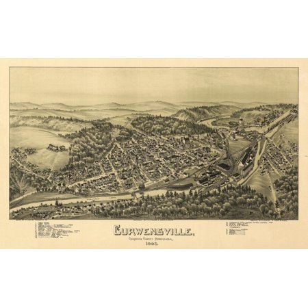 Old Map Of Curwensville Pennsylvania 1895 Clearfield County Canvas Art     24 X 36