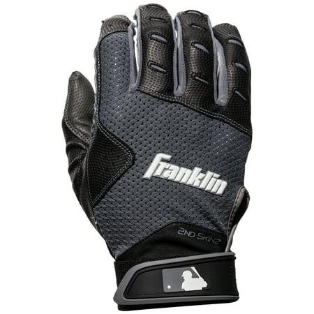 Franklin Sports 2nd Skinz XT Batting Gloves - Black/Gray - Adult Small