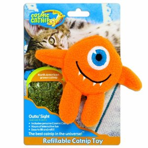 Cosmic Refillable Catnip Toy Cyclops, Outta Sight Multi-Colored by OURPET'S