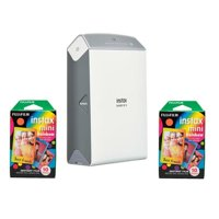 Fujifilm instax SHARE SP-2 Smartphone Printer, 320dpi, Silver - With 2 Pack FujiFilm Instax Mini Rainbow Film, 10 Sheets
