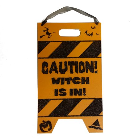 Halloween Wooden Glitter Caution Sign 10.5