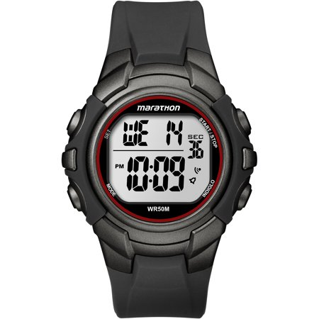 Marathon Mens Digital Full-Size Watch, Black Resin Strap