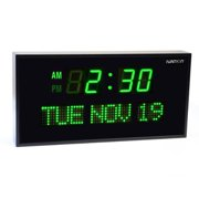 Ivation JID0216GRN Big Oversized Digital Green LED Calendar Clock with Day and Date (Green)