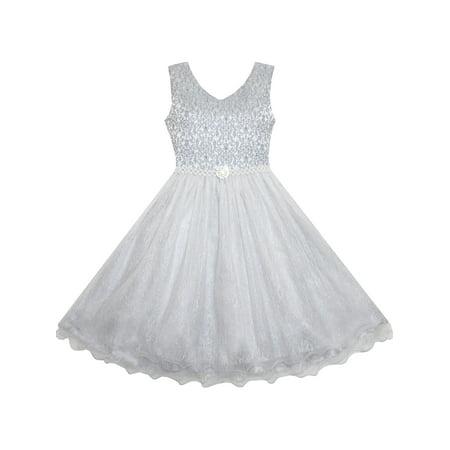 Flower Girl Dress Sparkling Pearl Belt Gray Wedding Bridesmaid ...