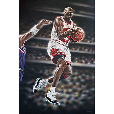 CANVAS Michael Jordan - Airborne - by Darryl Vlasak 24x18 Painting Print on Wrapped Canvas Memorabilia Basketball NBA - Jordan Wrap