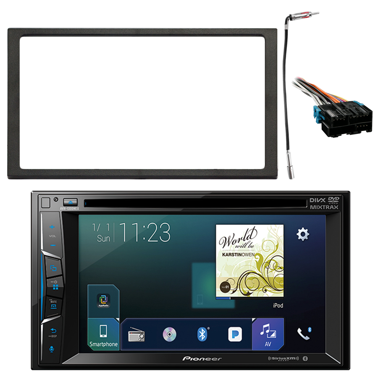 "Pioneer 6.2"" Double Din Bluetooth SiriusXM Ready DVD Receiver, Enrock Double DIN Install Dash Kit, Metra Radio Wiring Harness, Enrock Antenna Adapter (Select 1994-2005 Vehicles)"