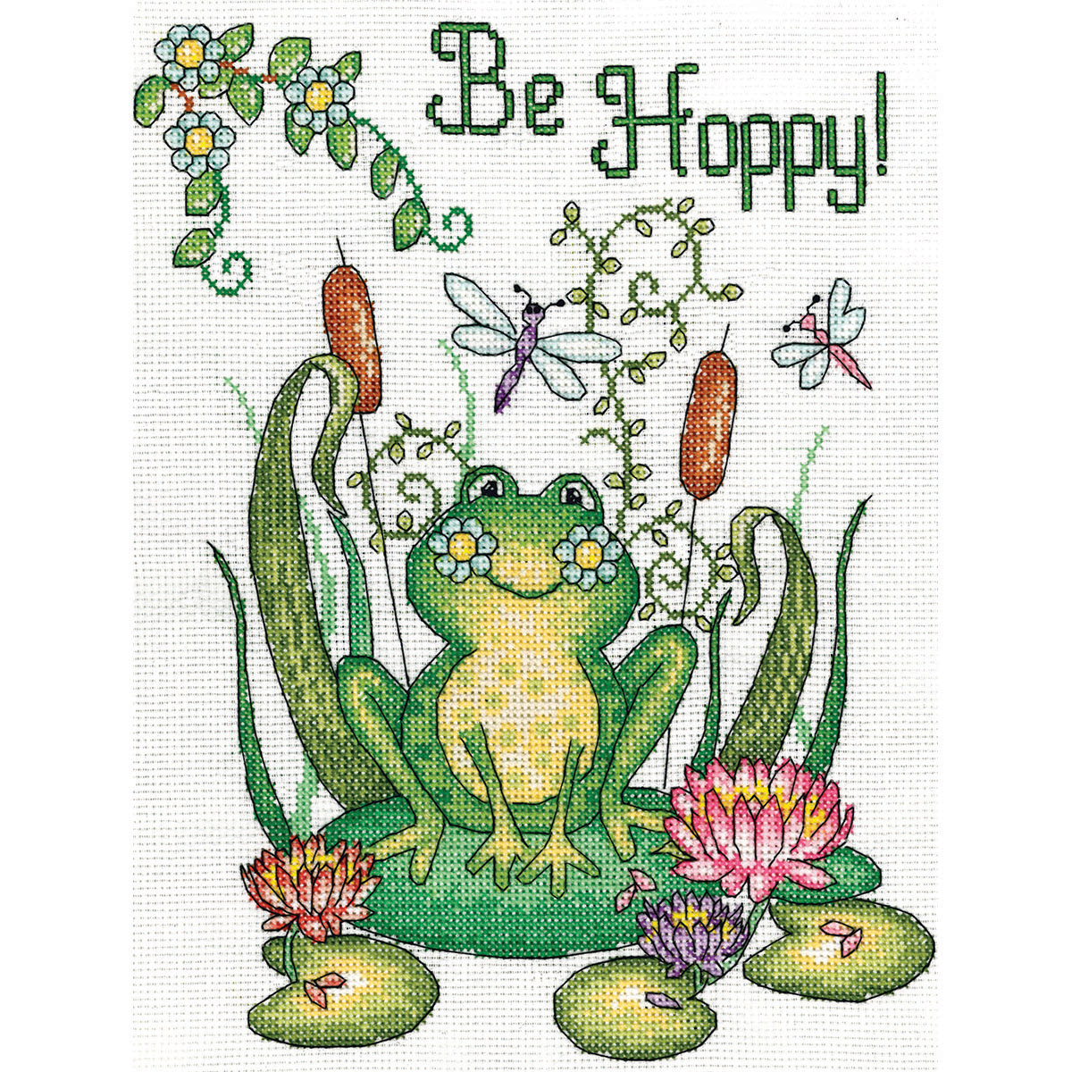 """Be Hoppy (Frog) Counted Cross Stitch Kit, 8"""" x 10"""", 14-Count"""