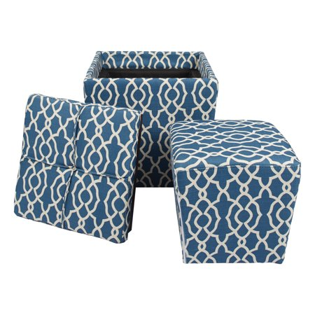 OSP Designs 2 Piece Ottoman Set with Tray Top in Abby Geo Blue Fabric ()