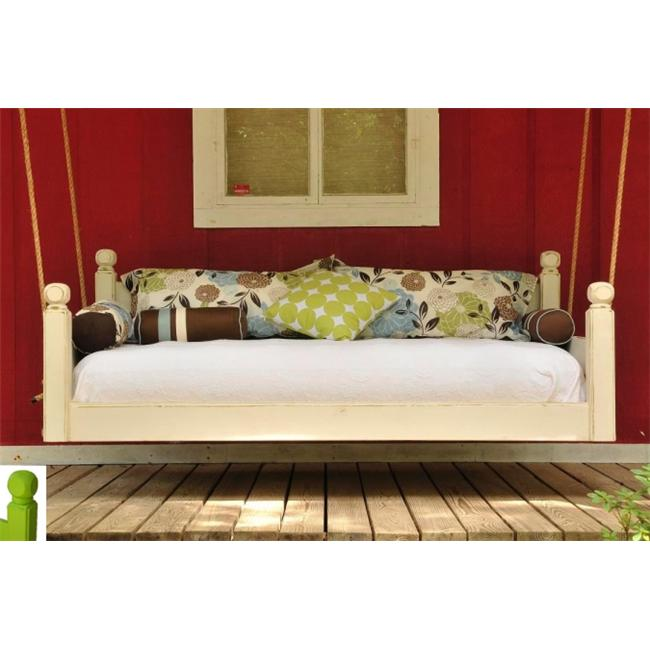 Swing Beds Online ORG-TWN-CYP-RED-RD 84 inch Red Round Post Tops Original Swingbed - Normal Paint