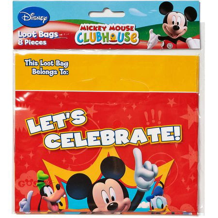 (4 Pack) Mickey Mouse Clubhouse Party Favor Treat Bags, 8ct (Party Bags Mickey Mouse)
