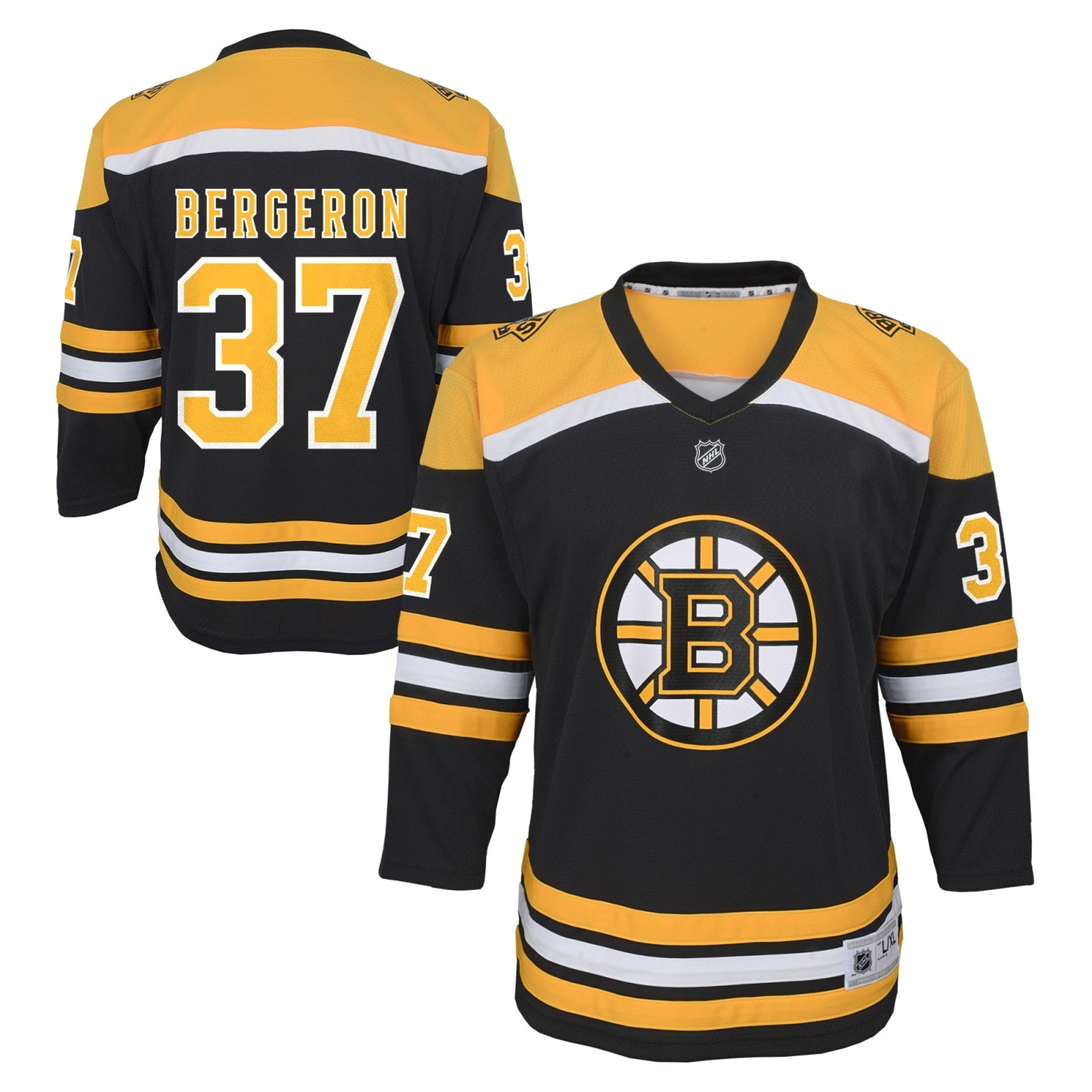 Patrice Bergeron Boston Bruins Youth NHL Black Replica Hockey Jersey by Outerstuff