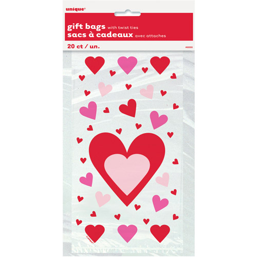 Hearts Valentine Cellophane Bags, 20-Count