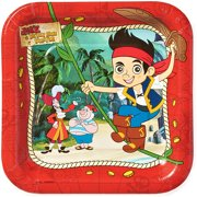 """7"""" Jake and the Never Land Pirates Square Paper Party Plate, 8ct"""