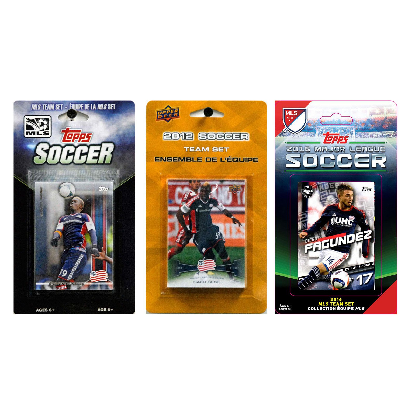 C&I Collectables MLS New England Revolution 3 Different Licensed Trading Card Team Sets