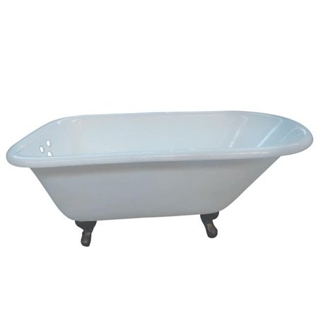 54 x 3.38 in. Aqua Eden Cast Iron Roll Top Clawfoot Tub with Tub Wall Drillings, Oil Rubbed Bronze feet
