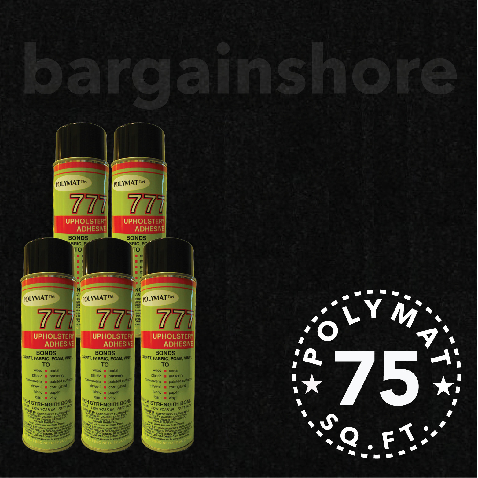 20FT x 3.75FT BLACK Speaker Box Carpet +5 Cans 777 Fabric Spray Glue…