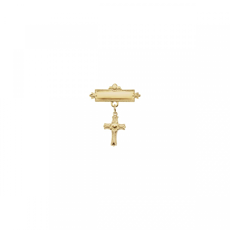 Baptismal Brooch with Cross R16776   14Kt Yellow   13.00X10.00 Mm   Polished   Cross W Heart Baptismal Pin by Midwest Jewellery