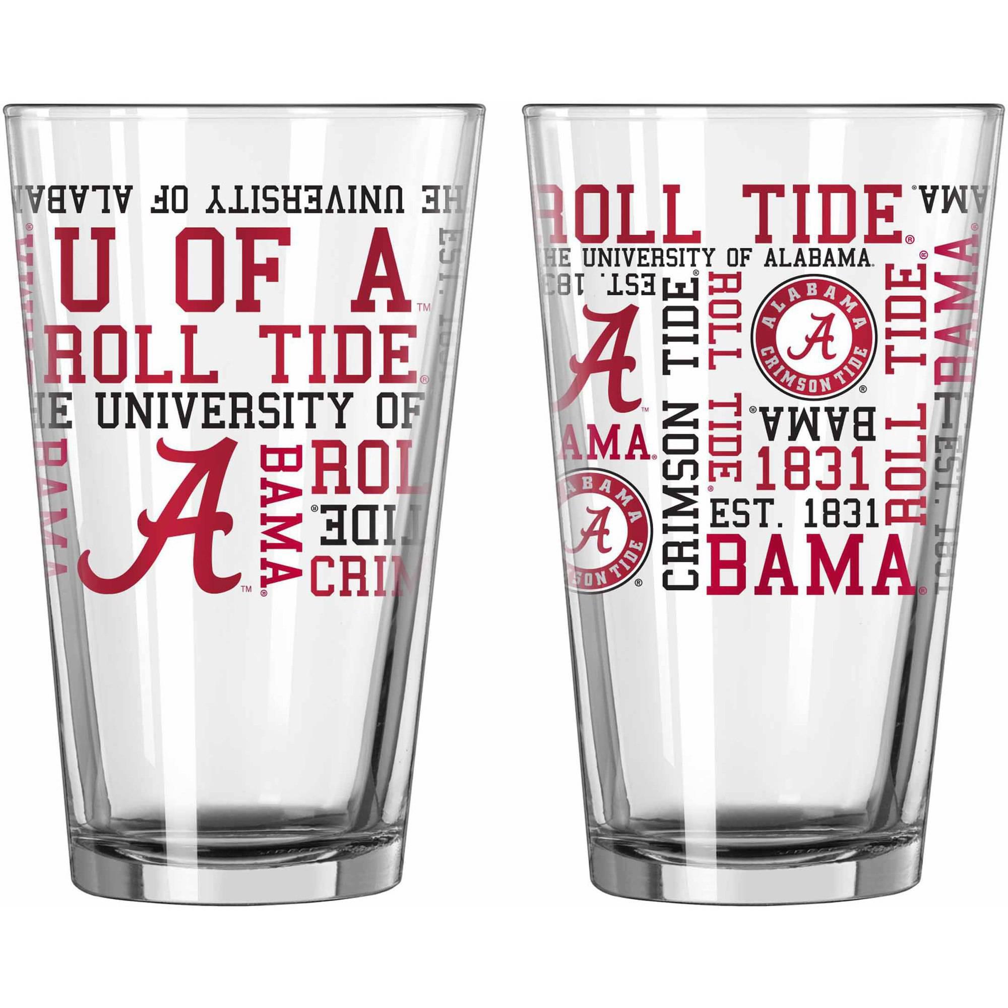 Boelter Brands NCAA Set of Two 16 Ounce Spirit Pint Glass Set, University of Alabama... by Boelter Brands