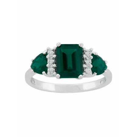 Created Emerald Sterling Silver Side Trillions and Emerald-Cut Center Three-Stone Ring